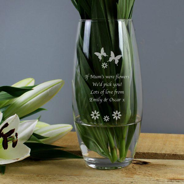 Personalised Butterflies and Flowers Bullet Vase