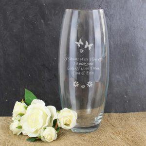 Butterflies & Flowers Personalised Vase
