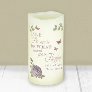 Personalised LED Secret Garden Candle