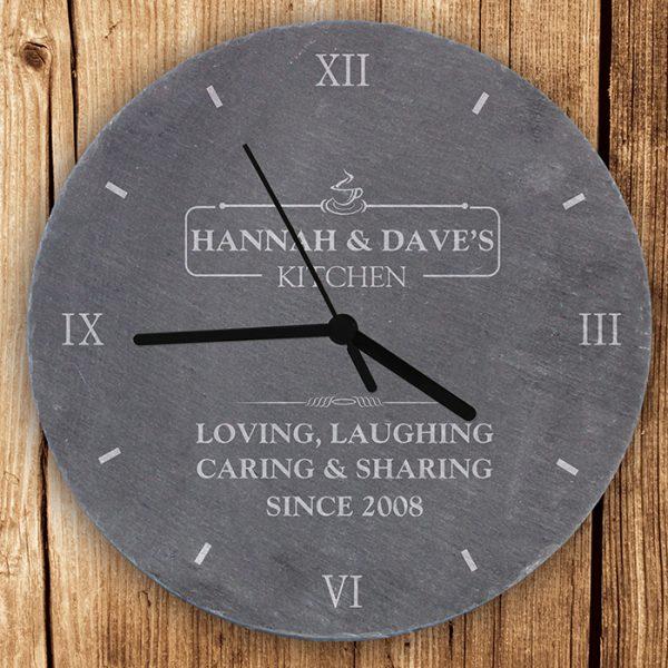 Personalised Slate Clock - Kitchen