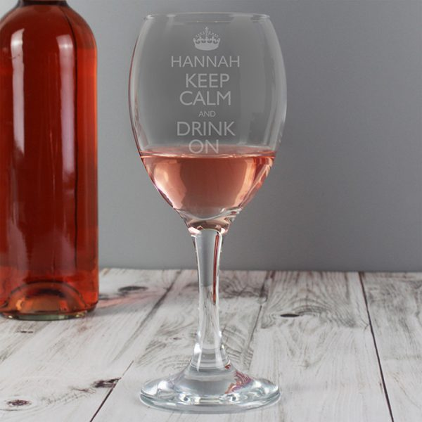 Personalised Wine Glass - Keep Calm