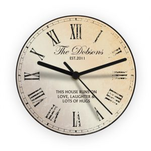 Rustic Style Personalised Wall Clock