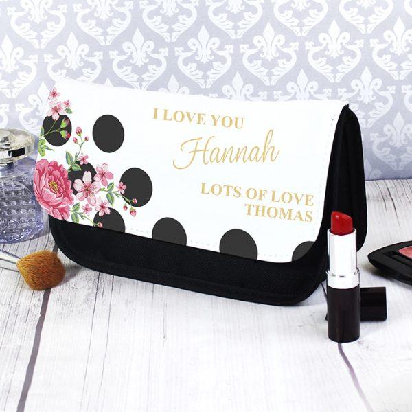 Personalised Make Up Bag - Floral Dot