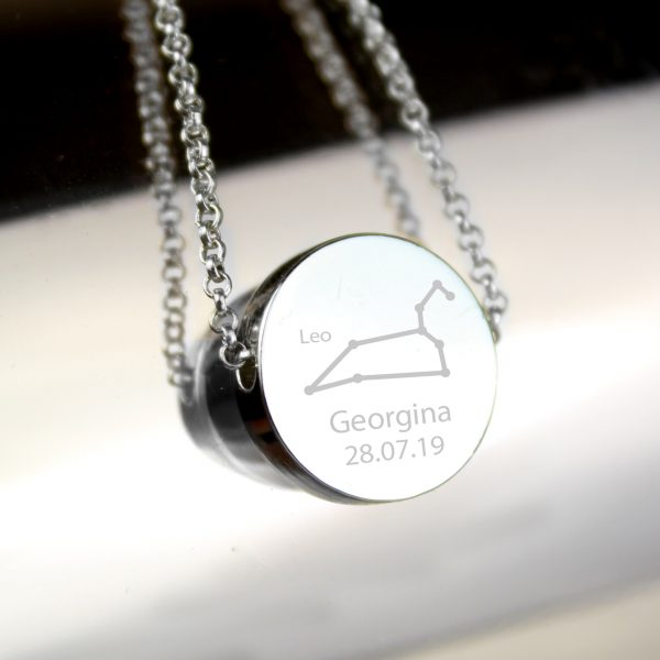 Personalised Leo Star Sign Zodiac Necklace