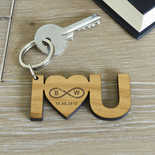 I Heart U Infinity Wooden Keyring