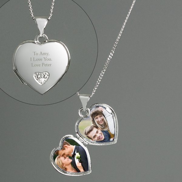Personalised Sterling Silver and Cubic Zirconia Heart Locket Necklace