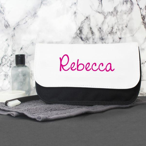 Personalised Pink Name Makeup Bag