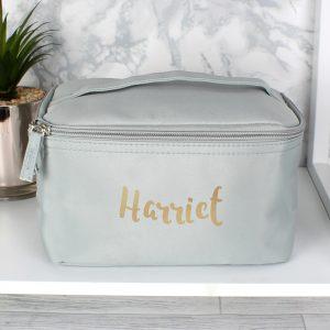 Personalised Gold Name Grey Vanity Bag