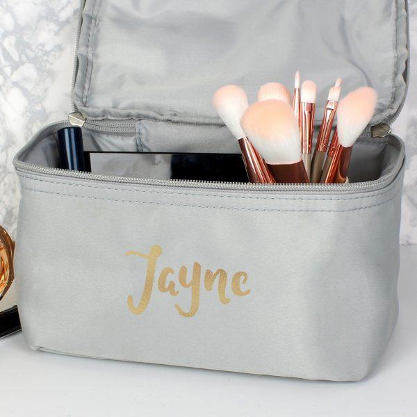 Personalised Gold Name Grey Wash Bag