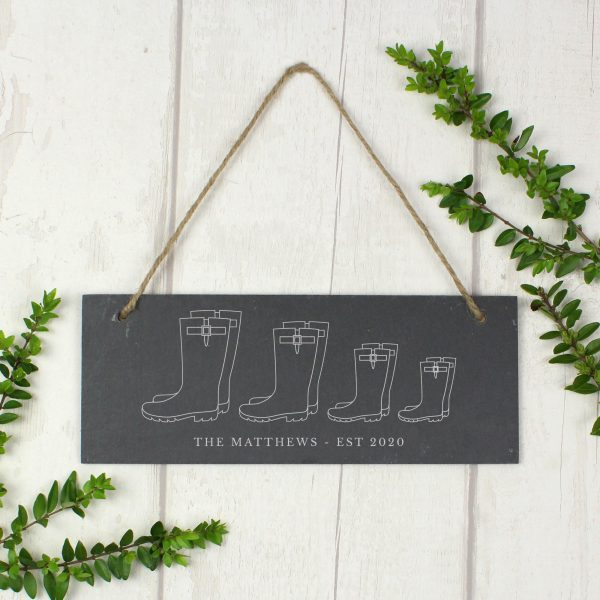 Family of Four Wellies Personalised Sign
