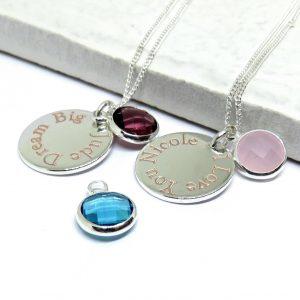 Personalised Edge Engraved Birthstone Necklace