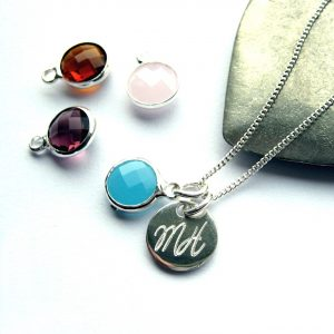 Personalised Engraved Birthstone Necklace