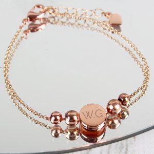 Personalised Rose Gold Tone Initials Disc Bracelet