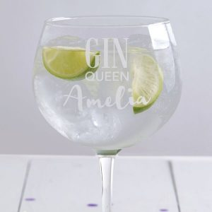 Gin Queen Personalised Glass