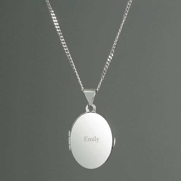 Personalised Sterling Silver Oval Locket Necklace