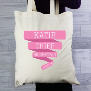 Personalised Pink Banner Cotton Bag