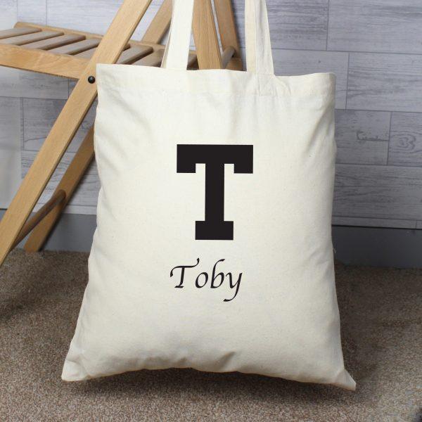 Personalised Black Initial Cotton Bag