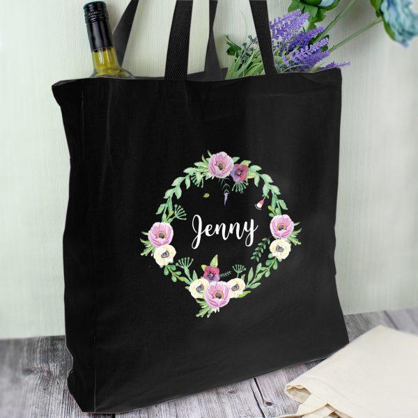 Personalised Floral Black Cotton Bag