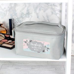 Personalised Floral Grey Vanity bag