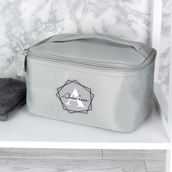 Personalised Geometric Initial Grey Vanity Bag