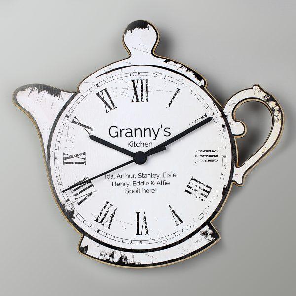 Personalised Teapot Wooden Clock