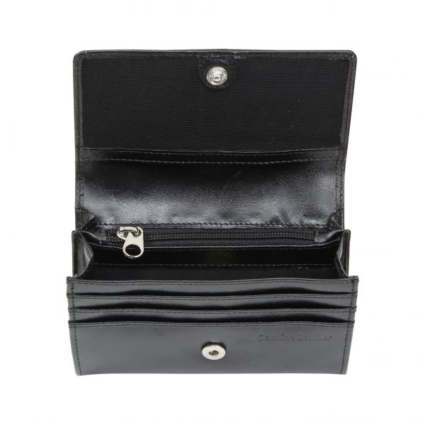Personalised Shopping Destination Black Leather Purse
