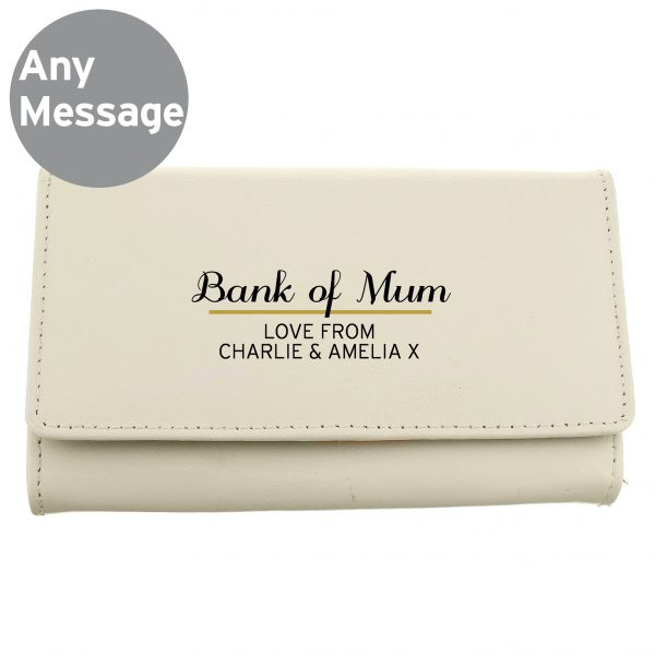 Personalised Classic Cream Leather Purse