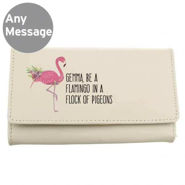 Personalised Flamingo Cream Leather Purse