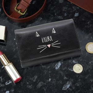 Personalised Cat Features Black Purse