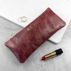 Luxury Slimline Leather Clutch in Burgundy