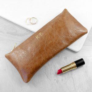 Luxury Slimline Leather Clutch in Tan