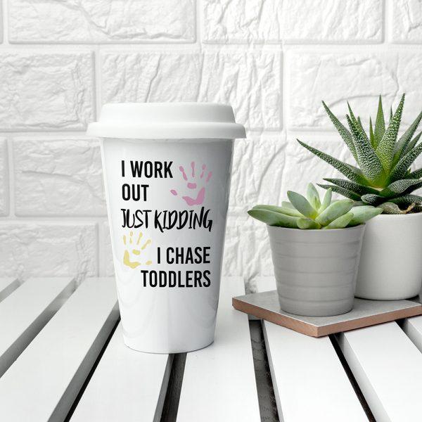 Personalised Just Kidding Ceramic Travel Mug