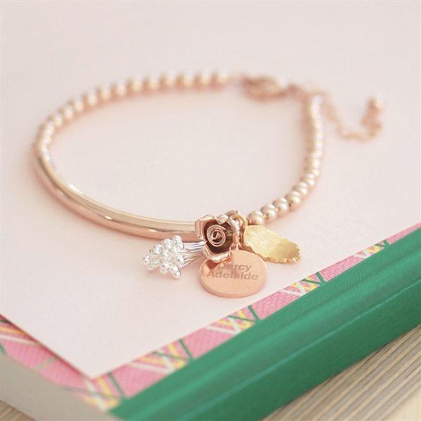 Bouquet Rose Gold Bracelet, 17cm