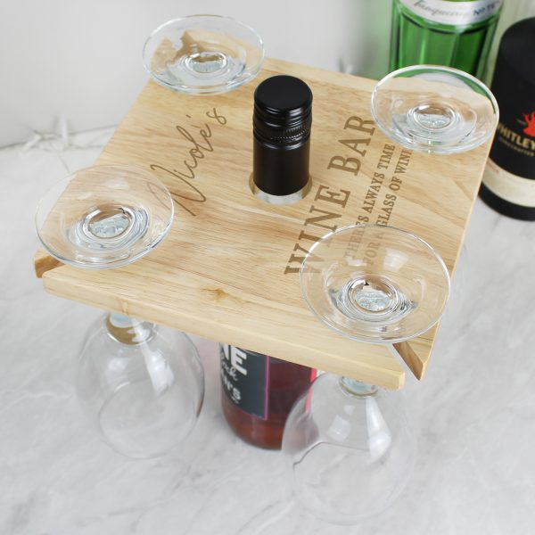 Personalised Free Text 4 Wine Glass Holder & Bottle Butler