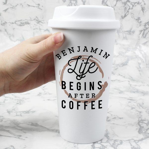 Personalised 'Life Begins After Coffee' Travel Mug