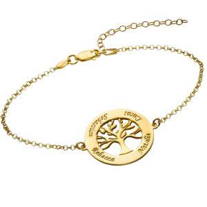 Gold Family Tree Bracelet