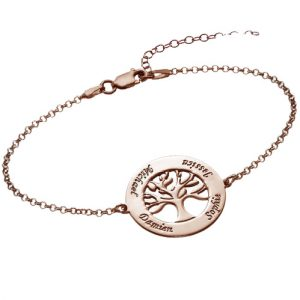 Rose Gold Family Tree Bracelet