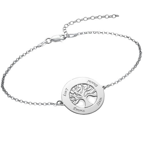 Sterling Silver Personalised Family Tree Bracelet