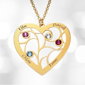 family tree birthstone gold