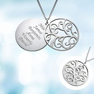 family tree silver necklace