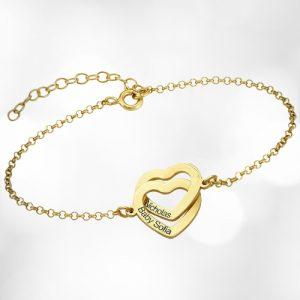 Personalised Interlocking Heart Bracelet
