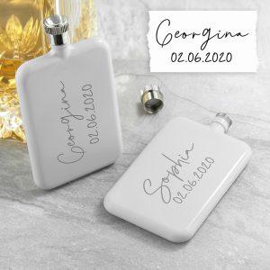 Personalised Handwriting White Slimline Flask