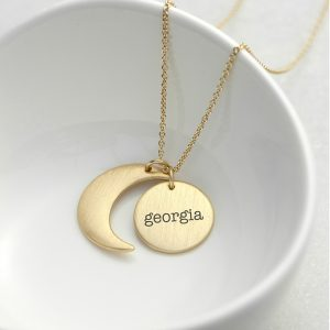 Personalised Matte Moon and Sun Necklace