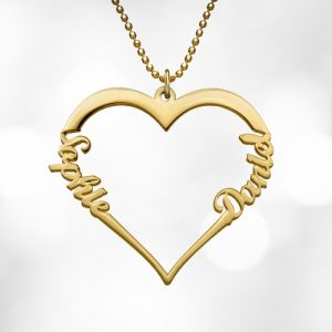 Gold Personalised Heart Name Necklace