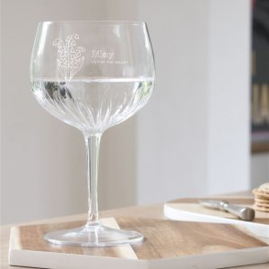 Birth Flower Crystal Cut Gin Glass