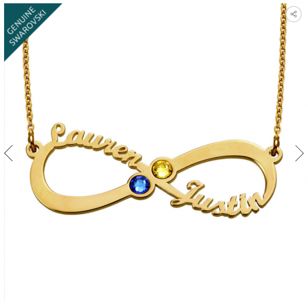 Gold Infinity Birthstone Necklace