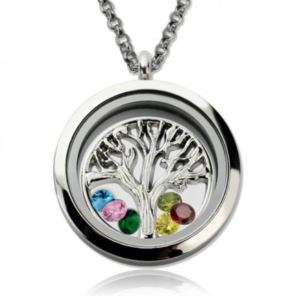 Family Tree Birthstone Locket Necklace