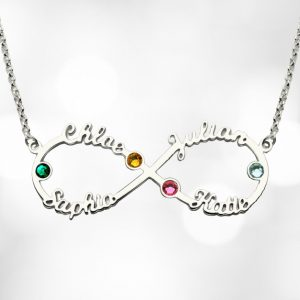 Personalised Infinity Four Name Necklace With Birthstones Silver