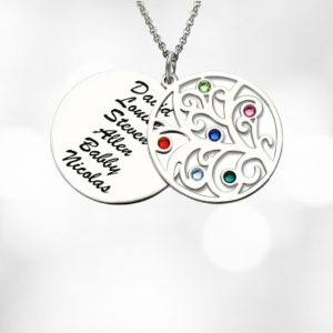 Family Tree Name Necklace with Birthstones