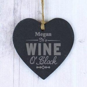 Personalised Wine O'Clock Slate Heart Decoration